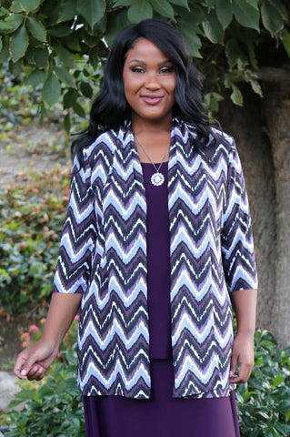 Allegra in a purple chevron print