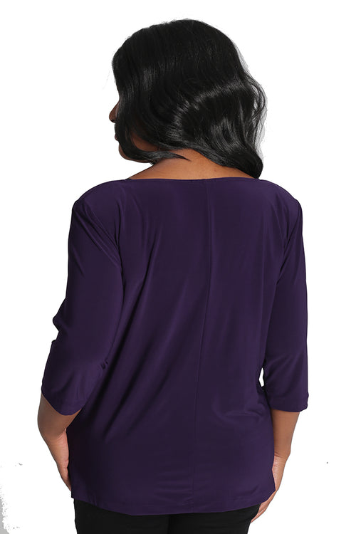 Vikki Vi Jersey Violet Purple Deep Scoop Neck Top
