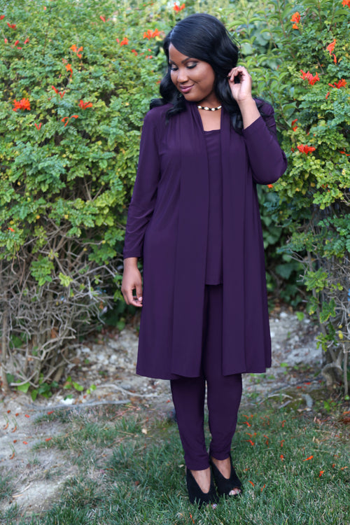 Vikki Vi Jersey Violet Purple Long Sleeve Kimono Duster
