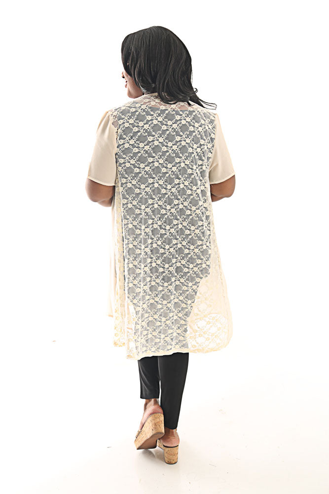 Vocal Cream Short Sleeve Lace Back Duster