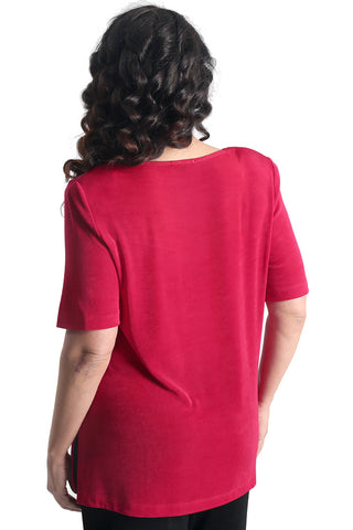 Vikki Vi Classic Wild Raspberry V-Neck Short Sleeve Tunic