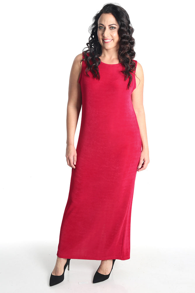 Vikki Vi Classic Wild Raspberry Jewel Neckline Maxi Dress