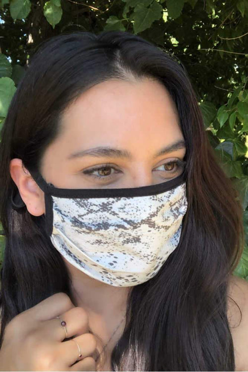 accessory Vikki Vi Washable Black and White Snake Print Face Covering