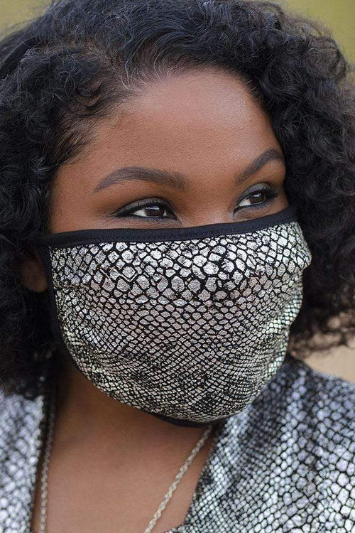 accessory Vikki Vi Washable Glam Metallic Snake Print Face Covering