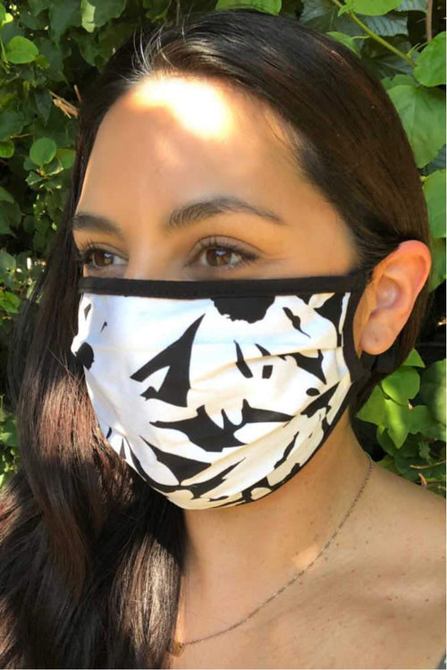 accessory Vikki Vi Washable Printed Black and White Face Covering 4 Pack
