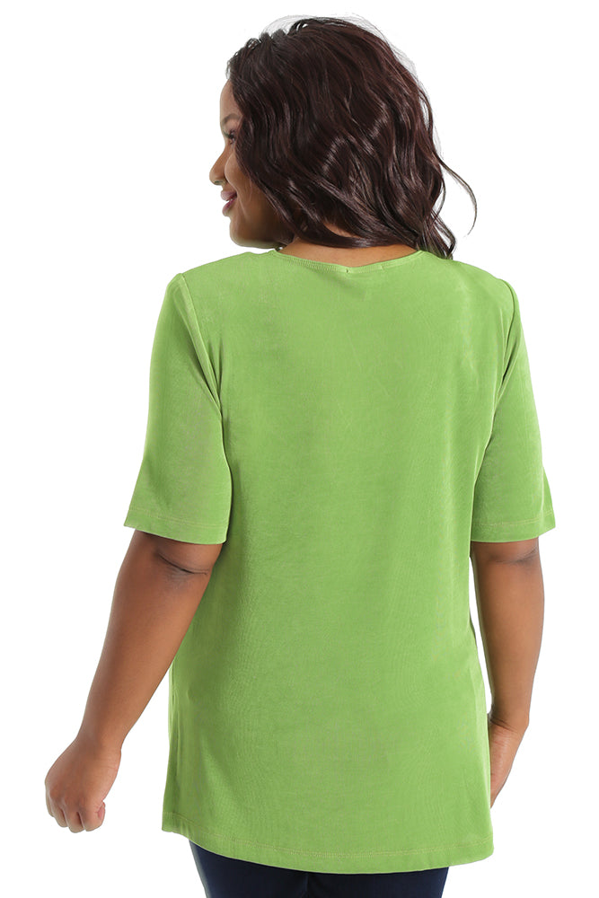 Vikki Vi Classic Avocado V-Neck Short Sleeve Tunic