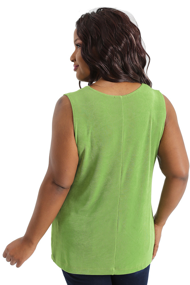 Vikki Vi Classic Avocado Sleeveless Shell