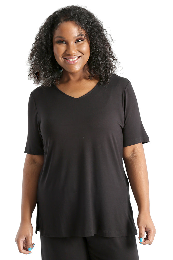 Vikki Vi Black Bamboo Lounge V-Neck Short Sleeve Tunic