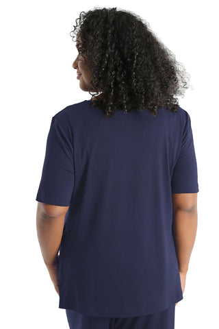 Vikki Vi Navy Bamboo Lounge V-Neck Short Sleeve Tunic