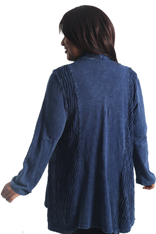 Jess and Jane Blue Mineral Wash Slub Cardigan