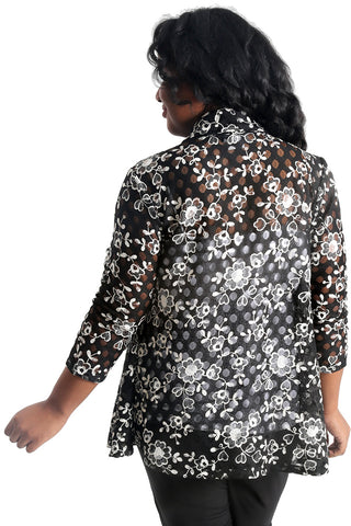 Vikki Vi Black and White Floral 3/4 Kimono Jacket