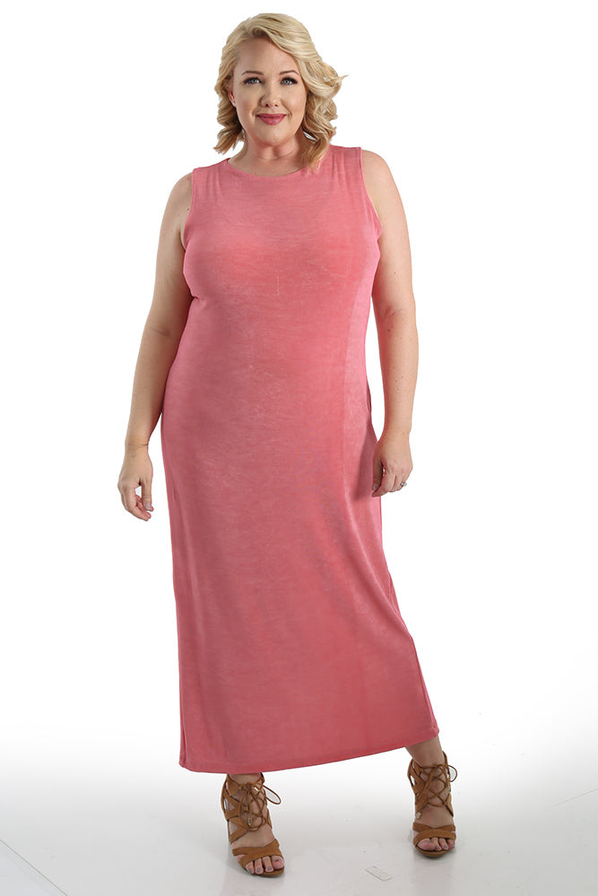 269fa4fa37 Vikki Vi Classic Carnation Jewel Neckline Maxi Dress - PlusbyDesign.com