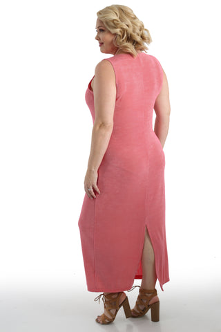 Vikki Vi Classic Carnation Jewel Neckline Maxi Dress