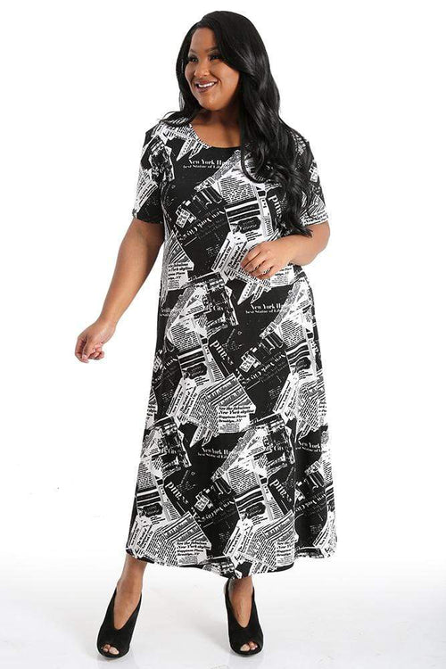 Dresses JoStar Newsprint Short Sleeve Dress