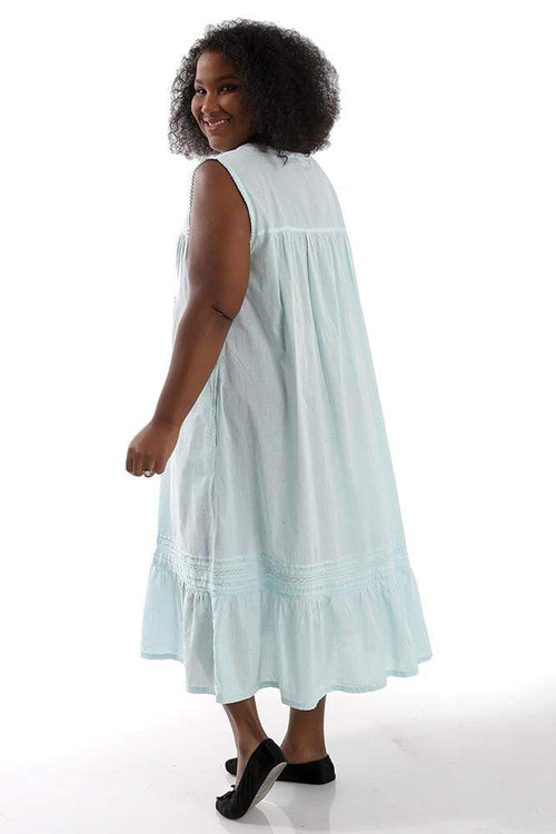 Dresses La Cera Powder Blue Sleeveless Cotton Gown