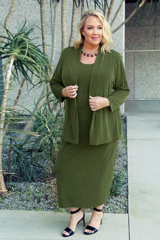 A minimalist outfit in asparagus green