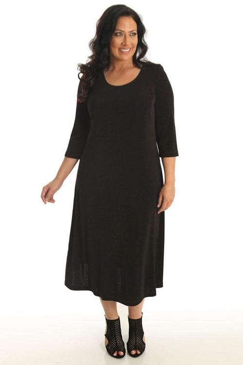 Dresses Vikki Vi Classic Chocolate 3/4 Sleeve A-Line Dress