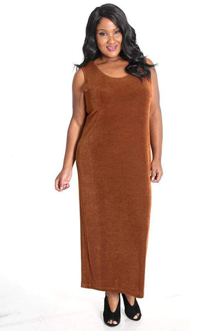a brown skinned dark haired woman smiling at the camera and wearing a Rust Vikki Vi maxi tank dress