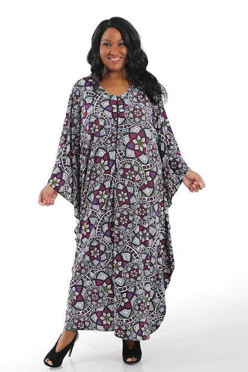 Dresses Vikki Vi Jersey Stained Glass Zip Front Caftan