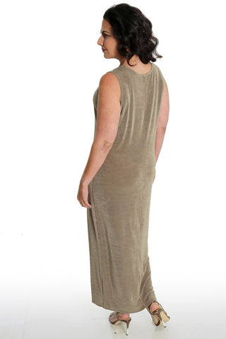 Vikki Vi Classic Driftwood Sleeveless Maxi Tank Dress