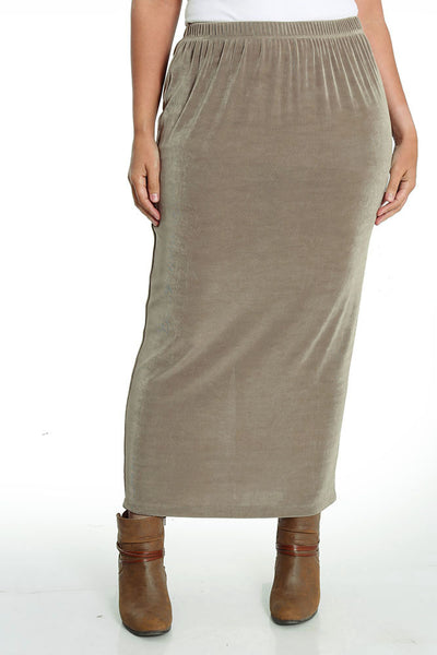 Vikki Vi Classic Driftwood Long Straight Skirt