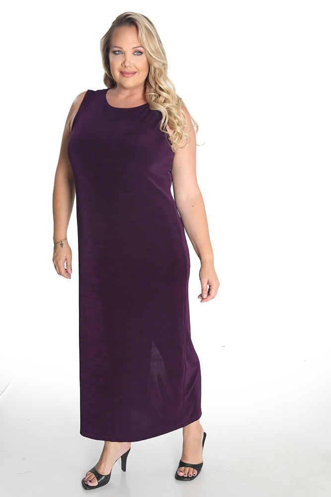 Vikki Vi Classic Eggplant Jewel Neckline Maxi Dress