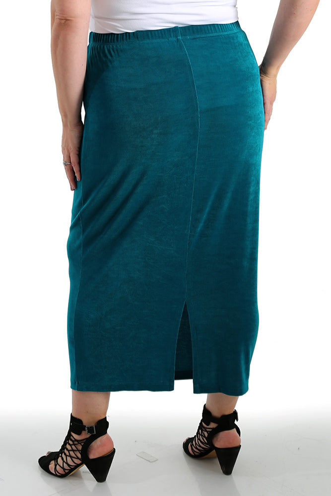 73832b0989 Vikki Vi Classic Fiji Teal Long Straight Skirt - PlusbyDesign.com