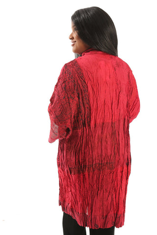 Greensewn Crinkle Ruby Dream Kimono Duster