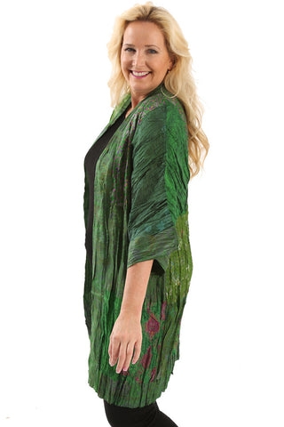 Greensewn Crinkle Emerald Dream Kimono Duster