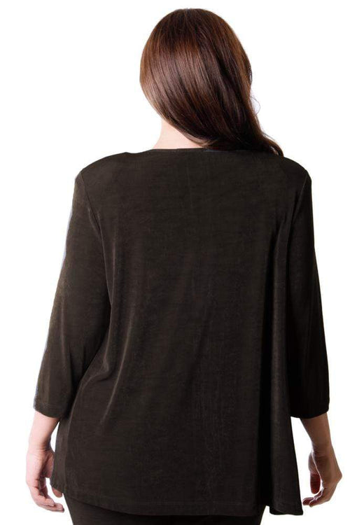 Jackets Vikki Vi Classic Chocolate 3/4 Sleeve Cardigan