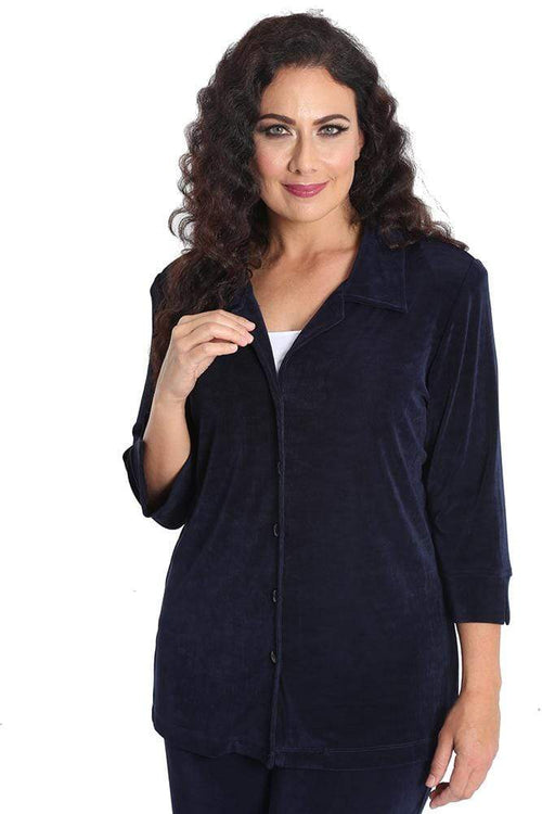 Jackets Vikki Vi Classic Navy Notch Collar Jacket