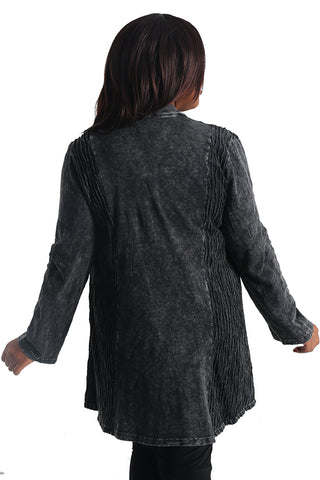 Jess and Jane Black Mineral Wash Slub Cardigan