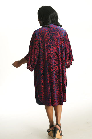 Janette Plus Navy and Red velvet Burnout Kimono Duster