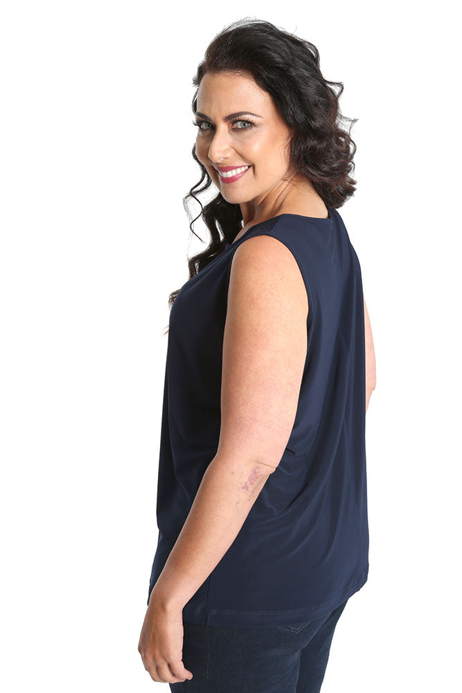 Vikki Vi Jersey Navy Sleeveless Shell