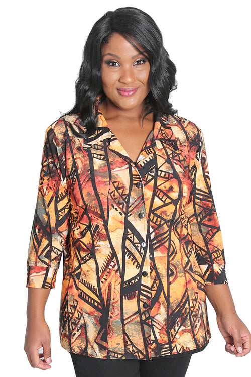 Vikki Vi Jersey Kenya Notch Collar Jacket