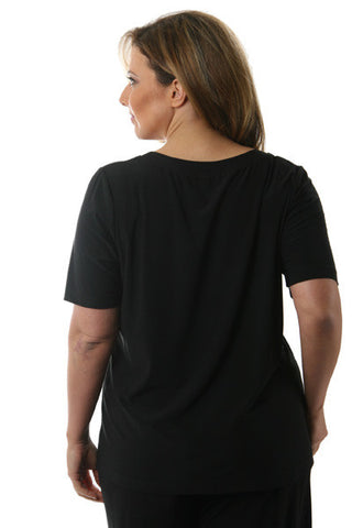 Vikki Vi Jersey Black Short Sleeve Tee Top