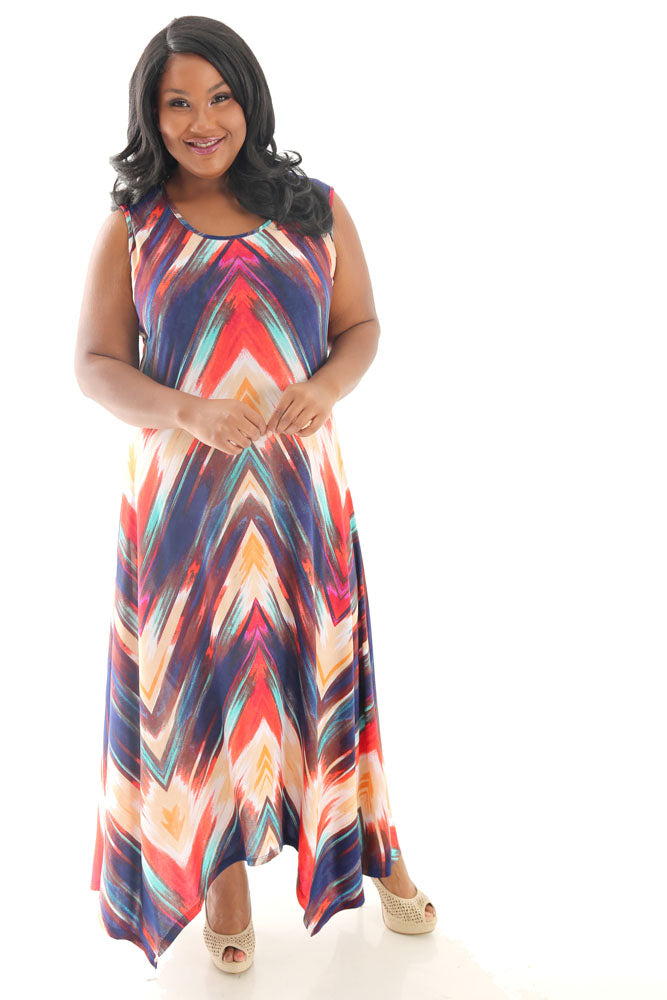 Modern Touch Chevron Handkerchief Hem Maxi Dress