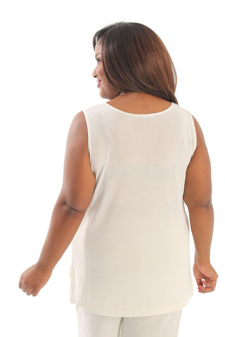 Vikki Vi Classic Natural Sleeveless Tunic