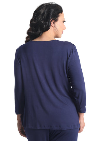 Vikki Vi Navy Bamboo Lounge V-Neck Long Sleeve Tunic