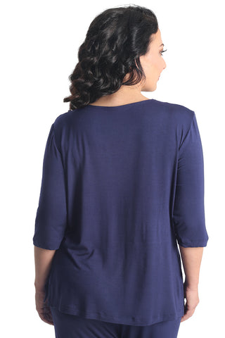 Vikki Vi Navy Bamboo Lounge V-Neck 3/4 Sleeve Tunic