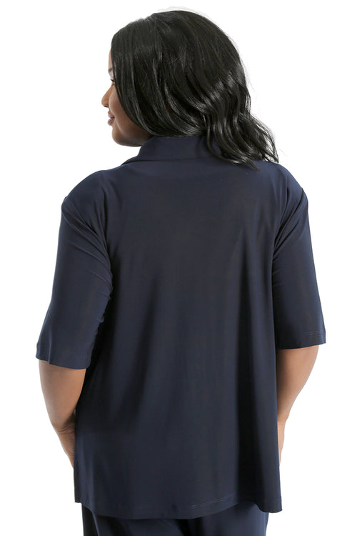 Vikki Vi Jersey Navy Camp Shirt