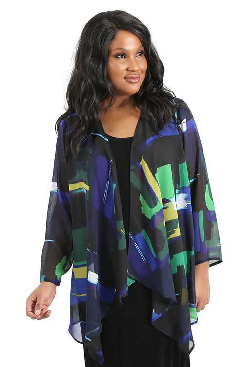 Vikki Vi Midnight Painter Sheer Swing Cardigan