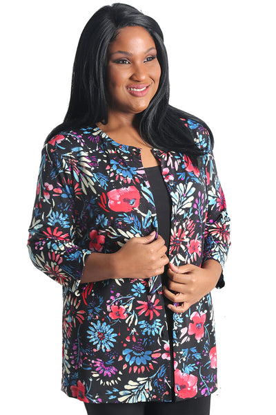 Vikki Vi Jersey Painter Floral 3/4 Sleeve Cardigan