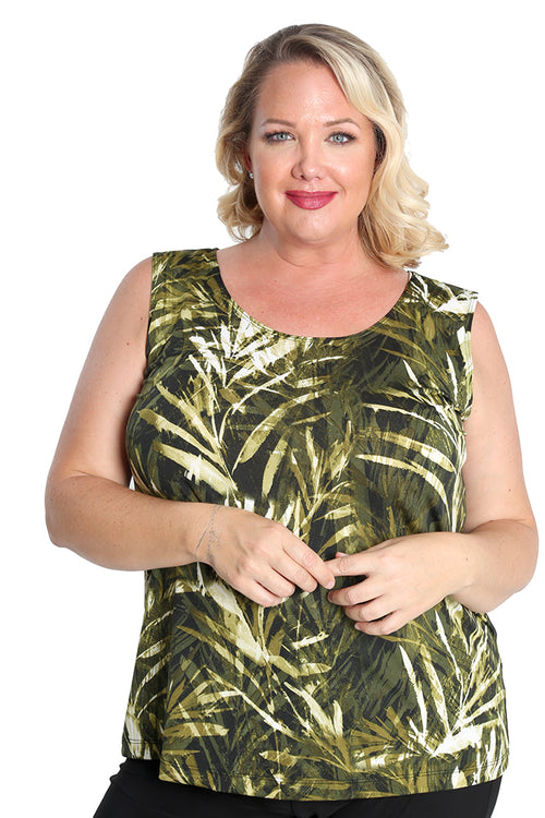 Vikki Vi Jersey Olive Palm Sleeveless Shell