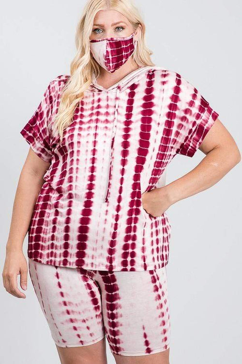 Pants Janette Plus Burgundy Tie Dye Lounge Set