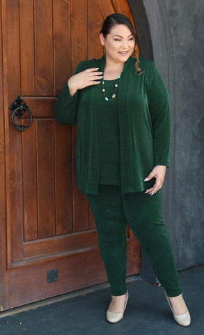 Chelsea in a hunter green outfit