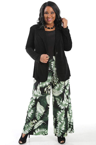 allegra in green print wide leg pants
