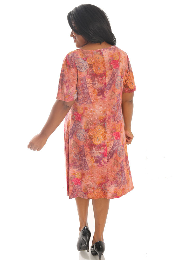 Vikki Vi Jersey Peach Cornucopia T-Shirt Style Dress