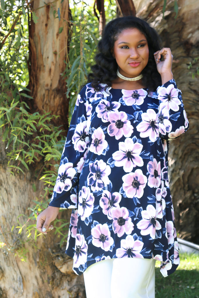 Vikki Vi Jersey Navy and Pink Magnolia Tunic