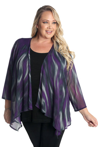 Vikki Vi Purple Abstract Ikat Sheer Swing Cardigan